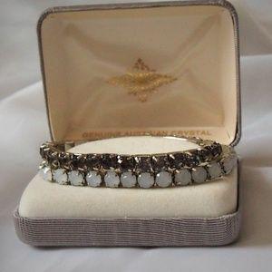 TWO Vintage Rhinestone Stretch Bangle Bracelets